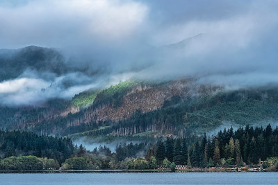 Two clashing thoughts on our natural resources - clear cut timber harvest on the far hillside, and total protection as seen in the foreground, Lake Crescent, Olympic National Park