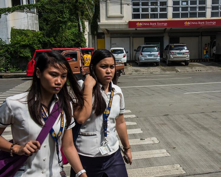 Unfriendly Philippina school girls