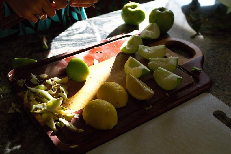 making apple juice.