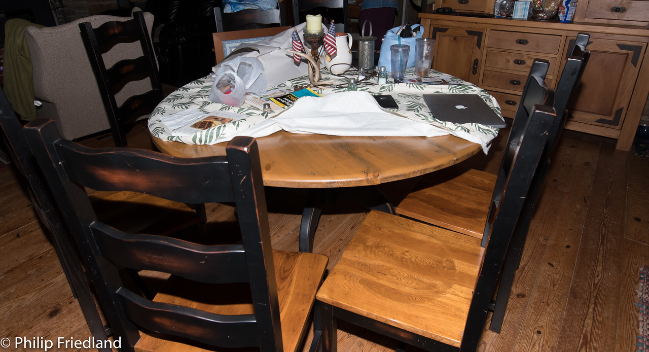 "60"" round table, solid oak top, pedestal and 8 wood chairs"