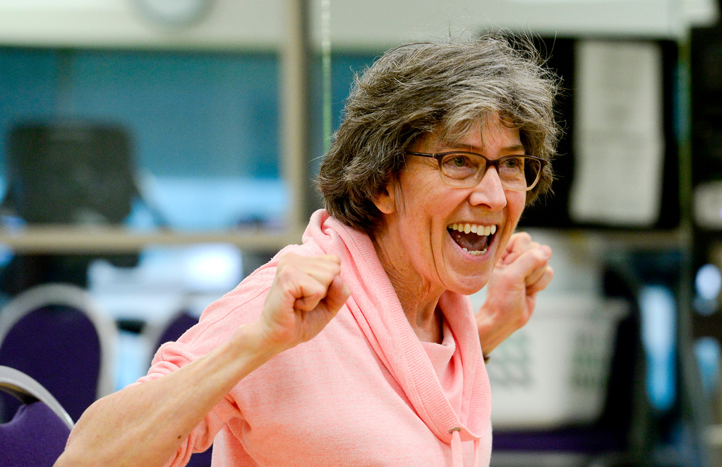 . Instructor Nancy Hillmer encourages the class during a Move it! Improve it! workout at Louisville Recreation and Senior Center in Louisville, Colorado on Jan. 10, 2018.  (Photo by Matthew Jonas/Times-Call)