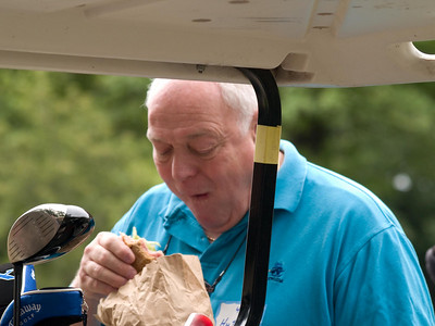 John Huttner gets some sustenance before teeing off!