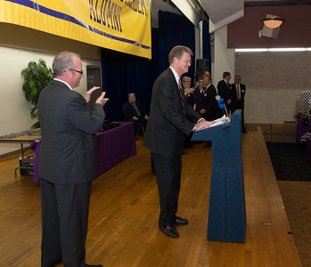 """Art Kenny, PMA '64 accepting for 1964 Basketball Team """"Team of Century"""""""