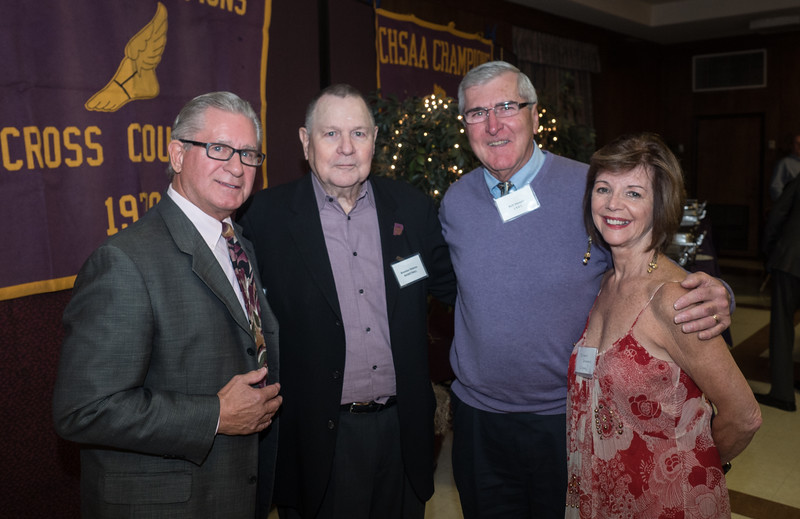 Mike and Sharon Lynch  and Rich Deneen, PMA 1961 Basketball team, with Coach Malone