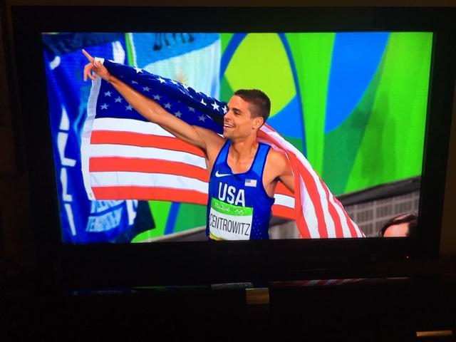 Screenshot of Matt Centrowitz Jr. after winning the 2016 Olympic 1500 Meters.
