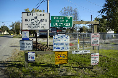 Lincoln Highway sigh at edge of town.  Bucyrus, Ohio