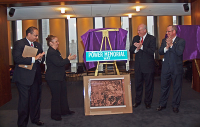 Joe Maffia PMA '77, NYC Councilwoman Gale Brewer, Congressman Joe Crowley PMA '80, and Sean Crowley PMA '83