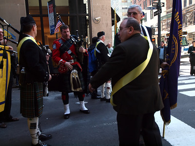 Brian Kearney, PMA '85 arrives after completing his first march with  the NYFD Pipe Band.