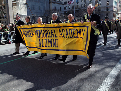 Jim Collins, Mike Lynch, Peter Kerwin, Tom Murray, Ed Beyer and Fred Russell of the Class of 1961 lead 130+ PMA Alumni up Fifth Avenue.