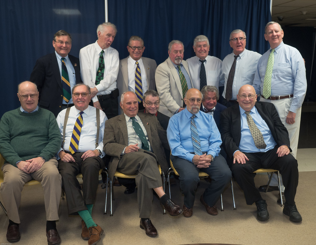 Top: Gerry Gay, John Minton, Mike Lynch, Ed O'Keefe, Tom Murray, Rich Deneen, Jim Collins Bottom: Gerry McGee, Fred Russell, Peter Kerwin, John Early, Al Caldiero, Bob Dill, Joe Kurtz