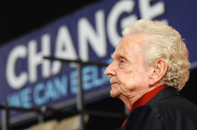Earl Neikirk/Bristol Herald Courier Bluegrass ledgend Ralph Stanley waits for Barak Obama to begin his speech at Lebanon High School in Lebanon, VA. Tuesday afternoon.
