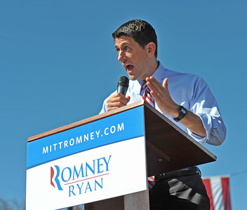 Vice President Nominee Paul Ryan speaks to supporters during a rally at Universal Fiber Systems on Thursday, October 25, 2012 in Bristol, Va.  Photo Earl Neikirk/Bristol Herald Courier