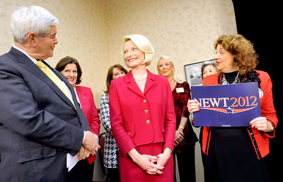 Earl Neikirk/Bristol Herald Courier  Republican Presidential candidate Newt Gingrich sings Happy Birthday to  his wife Callista, right, during his visit in Kingsport Tenn. on Monday.