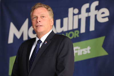 EARL NEIKIRK/BRISTOL HERALD COURIER  Candidate Terry McAuliffe pauses before talking at the Birthplace of Country Music museum on Wednesday.  McAuliffe was in town for a campaign stop.