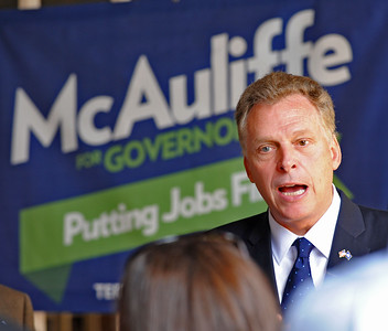 EARL NEIKIRK/BRISTOL HERALD COURIER  Candidate Terry McAuliffe speaks to the media at the Birthplace of Country Music museum on Wednesday in Bristol, Va.  McAuliffe was in town for a campaign stop.