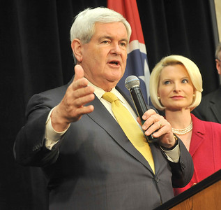 Earl Neikirk/Bristol Herald Courier  Republican Presidential candidate Newt Gingrich speaks to the Greater Kingsport Republican Women's Club on Monday as his wife Callista looks on.