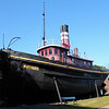 The old Tugboat Mathilda sits at the Hudson River Maratime Museum in Kingston NY