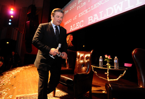 "Actor Alec Baldwin walks on stage during the BIFF tribute to him.<br /> The Boulder International Film Festival honored actor Alec Baldwin at the Boulder Theater on Sunday night.<br /> For more photos of Baldwin, go to  <a href=""http://www.dailycamera.com"">http://www.dailycamera.com</a>.<br /> Cliff Grassmick / February 14, 2010"