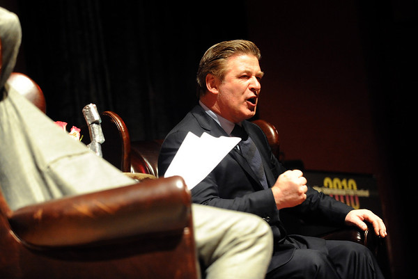"""Actor Alec Baldwin answers questions from the host, Ron Bostwick, left, during the final tribute of BIFF.<br /> The Boulder International Film Festival honored actor Alec Baldwin at the Boulder Theater on Sunday night.<br /> For more photos of Baldwin, go to  <a href=""""http://www.dailycamera.com"""">http://www.dailycamera.com</a>.<br /> Cliff Grassmick / February 14, 2010"""