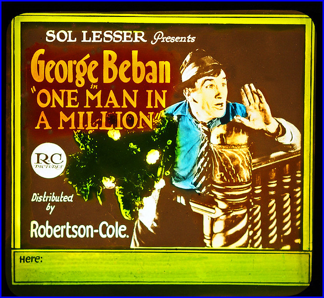 """One Man in a Million (1921) <br /> <br /> Synopsis: """"Lupino Delchini, a waiter in a little restaurant, is discharged for giving food to a penniless beggar; and Hartley, a detective, rewards the Italian by getting him an appointment as poundmaster. Flora is attracted to Lupino by his kindness, but when he adopts a small Belgian boy he falls in love with Madame Maureveau, whom he believes to be the boy's mother. Madame Maureveau accepts his marriage offer only to avoid being deported; actually, she is in love with Hartley, who traces her real son to another family. Renouncing his engagement, Delchini finds happiness with the boy and Flora."""" - <a href=""""http://www.tcm.com/tcmdb/title.jsp?stid=500090"""">http://www.tcm.com/tcmdb/title.jsp?stid=500090</a>"""