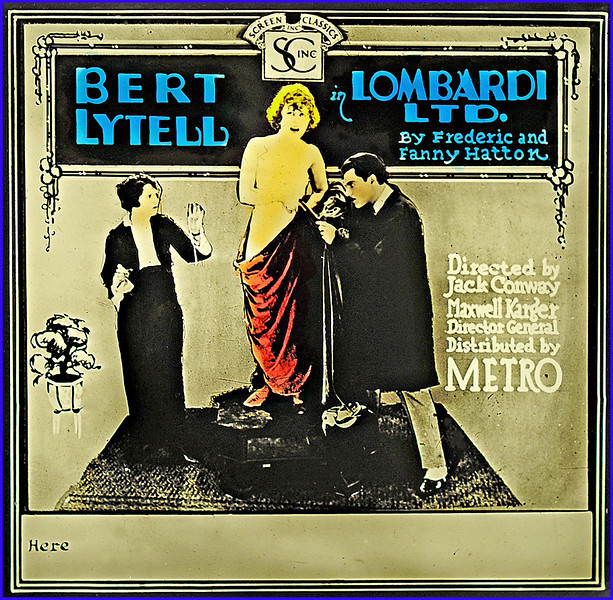 """Glass Movie Slide of: LOMBARDI, LTD. (1919), Movie. Silent. <br /> <br /> Synopsis: """"Fifth Avenue dress designer Tito Lombardi causes his business to suffer by his generous dispensation of credit to clients, one of whom, Max Strohm, the manager of a musical review, has promised payment for his girls' lavish costumes as soon as the show makes money. To the dismay of Norah Blake, Lombardi's faithful assistant, who loves him, Lombardi proposes to Phyllis Manning, one of the showgirls, and presents her with his finest creations, while not even attempting to kiss her, as she puts off setting a wedding date and also accepts the attentions of wealthy bachelor Bob Tarrant. After Strohm's show fails and Phyllis leaves with Tarrant for California, Lombardi's establishment nears bankruptcy. Daisy, one of Lombardi's models, accepts the proposal from Lombardi's friend, Rickey, a chauffeur. When she discovers he is the son of """"Riccardo the vermicelli king"""" and quite rich, she convinces Rickey to help Lombardi. Under Norah's direction, the business is revitalized. Lombardi finally sees Norah's value, and they marry."""" - <a href=""""http://www.tcm.com/tcmdb/title.jsp?stid=496100"""">http://www.tcm.com/tcmdb/title.jsp?stid=496100</a>"""
