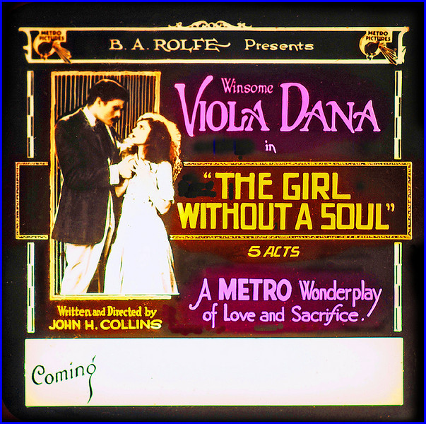 """The Girl Without a Soul (1917)<br /> <br /> Synopsis: """"Dominic Beaumont, a mender of violins in a country village, is proud of his daughter Priscilla, who has inherited her mother's musical ability. His other daughter, Unity, capably runs the household, but Dominic calls her a """"girl without a soul"""" because she lacks Priscilla's talent. Ivor, a traveling musician, who previously seduced and abandoned a young girl after promising to make her famous, tells Priscilla that with money she could be a success. When Priscilla learns that Unity's sweetheart Hiram Miller, the village blacksmith, has been entrusted with funds for the new church organ, Ivor persuades her to take the money. After Hiram is arrested, Unity masquerades as Priscilla to elope with Ivor and denounces him when he asks for the money. Priscilla gives the money to Unity, who then is suspected of the theft, because she refuses to squeal on Priscilla. After Priscilla appears at court and denounces Ivor, Hiram, on horseback, overtakes Ivor in an auto and drags him to court. Priscilla then convinces Dominic that he has misjudged Unity."""" - <a href=""""http://www.tcm.com/tcmdb/title.jsp?stid=492416"""">http://www.tcm.com/tcmdb/title.jsp?stid=492416</a>"""