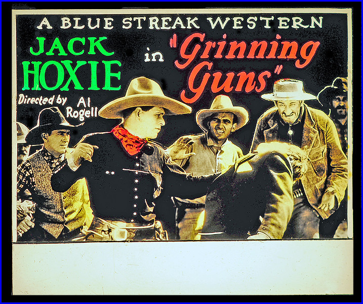 """Grinning Guns (1927) <br /> <br /> Synopsis: """"Grinner"""" Martin, an optimistic cowboy whose admiration for the writing of Amos Felden takes him to a western town where the newspaper publisher is fighting off ruffians, rescues Felden and his daughter, Mary, from a gang of bullies. Purcell, the saloon owner and town boss, has Martin and his pal Buckaroo Bill arrested, then incites the mob to lynch them. Tony turns against Purcell and liberates the prisoners, who persuade Felden to publish the names of undesirable citizens. Purcell threatens Felden when he is named and sets fire to the office. Tony is mortally wounded while saving the life of Felden, and Martin fights Purcell to the latter's death in a waterfall. Martin rehabilitates the newspaper office and finds happiness with Mary."""" - <a href=""""http://www.tcm.com/tcmdb/title.jsp?stid=496395"""">http://www.tcm.com/tcmdb/title.jsp?stid=496395</a>"""