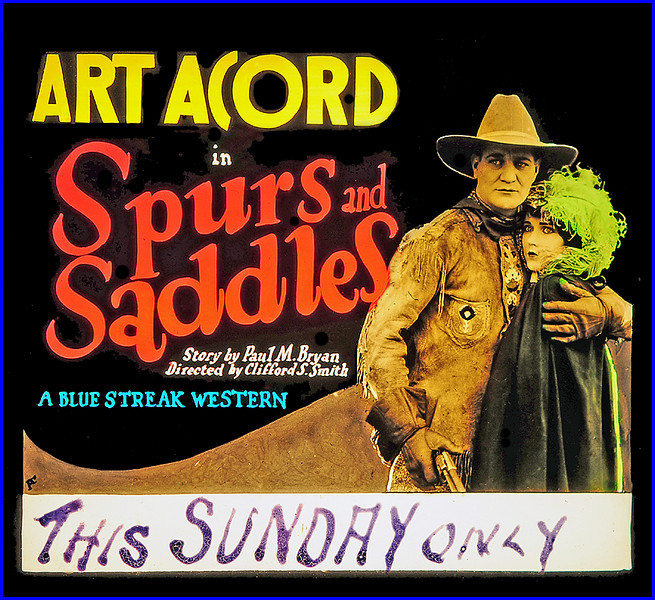 """Spurs and Saddles (1927) <br /> <br /> Synopsis: """"Jack Marley, seeking adventure in the frontier West, finds a Pony Express rider mortally wounded and delivers his mailbag to Caspar. En route, he stops a runaway stage and gains the admiration of Mildred Orth from the East, who is searching for her father, Norman, lost since her childhood. The local boss and owner of the dancehall, """"Hawk"""" Kent, covets the girl and orders Blaze Holton to frame her. She is compelled to work out her board in the dancehall. Jack auctions his horse to help her, then aids her escape. Blaze offers his aid against Kent, and before dying he tells Mildred he is her father and leaves his money to her."""" - <a href=""""http://www.tcm.com/tcmdb/title.jsp?stid=500473"""">http://www.tcm.com/tcmdb/title.jsp?stid=500473</a>"""
