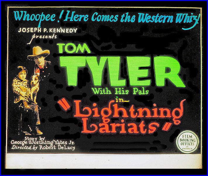 """Lightning Lariats (1927) <br /> <br /> Synopsis: """"Following a political coup in the Balkan kingdom of Roxenburg, young King Alexis and his American governess Janet Holbrooke flee to America but are pursued by two Roxenburg officers. Out west, Tom Potter, a rancher, gives them shelter. A neighbor, Henry Storne, holds the mortgage on the ranch but is lenient because of his daughter Cynthia's interest in Tom. Resentful of Janet's presence, Cynthia informs the Roxenburg officers about Alexis, whom they kidnap, but Tom overtakes their car and rescues the boy. Cynthia then induces her father to foreclose on the ranch. During Tom's absence, the Roxenburgians again abscond with Alexis and Janet, but in a desperate ride Tom overcomes the officers. The elder Storne relents in his foreclosure proceedings, assuring the happiness of Janet and Tom."""" - <a href=""""http://www.tcm.com/tcmdb/title.jsp?stid=495367"""">http://www.tcm.com/tcmdb/title.jsp?stid=495367</a>"""