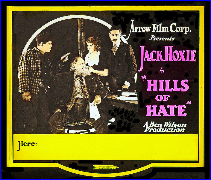 """Hills of Hate (1921) <br /> <br /> Synopsis: """"A Western which first depicts hero in business with his father, much sought after by mothers in the city, who have marriageable daughters. To no avail, since young man has already made his choice secretly. His father is involved in financial scandal, innocently enough, through clever crook, and the one girl hero believed would understand refuses to see him. Going West, eventually he finds gold and the girl, who is only too glad to be reunited with rugged, brave lover."""" ( Motion Picture News Booking Guide , 1:50, Dec 1921.)"""" -  <a href=""""http://www.tcm.com/tcmdb/title.jsp?stid=561933"""">http://www.tcm.com/tcmdb/title.jsp?stid=561933</a>"""