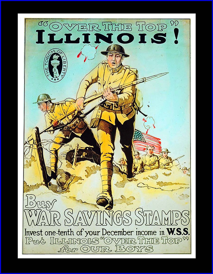 War Savings Stamps Glass Slide (WW1-1918) For Illinois theater audiences.