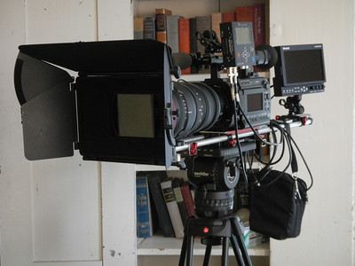 The camera rig: a Sony F3 in the middle, with a Red 18-85 zoom lens, Chrosziel matte box with filters (Tiffen T-1 and Pro-Mist), Marshall monitor, all mounted on a Zacuto plate with 15mm rails, sitting on a Sachtler head and Manfrotto legs.  What a beast!  (For testing we used the Convergent Design NanoFlash, but switched to the Aja Ki Pro Mini for production.)