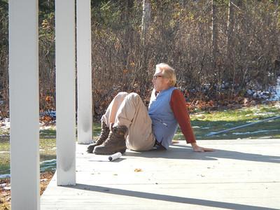 Rusty DeWees, relaxing between shots.