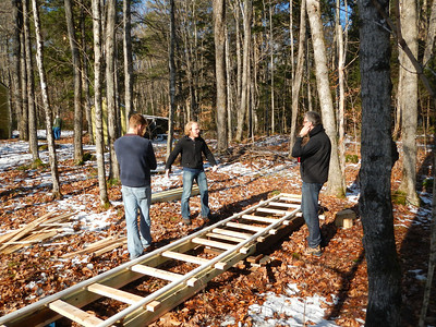 The 20-foot dolly track, in the woods between the Fowler and Frost houses.