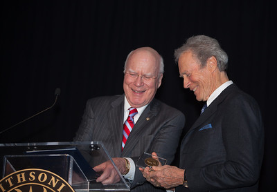U.S. Senator Patrick Leahy (D-VT) presents award to Clint Eastwood. At a special ceremony marking the opening of the new Warner Bros. Theater at the National Museum of American History in Washington DC, the Smithsonian presented Clint Eastwood with the James Smithson Bicentennial Medal in honor of Eastwood's contribution to the American Experience through film. (Photo by Jeff Malet)