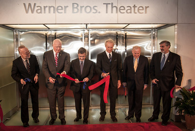 Ribbon cutting ceremony at the new Warner Bros. Theater. At a special ceremony marking the opening of the new Warner Bros. Theater at the National Museum of American History in Washington DC, the Smithsonian presented Clint Eastwood with the James Smithson Bicentennial Medal in honor of Eastwood's contribution to the American Experience through film. In photo (left to right) Marc Pachter, Interim Director, National Museum of American History, Sen. Patrick Leahy, Barry Meyer, Warner Bros. Chairman and CEO, Clint Eastwood, John Roger, Chair, National Museum of American History Board and Richard Kurin, Under Secretary for History, Art and Culture.  (Photo by Jeff Malet)