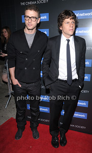 "Justin Timberlake  and Jesse Eisenberg attend the Columbia Pictures and  Cinema Society movie screening of ""The Social Network at the SVA theatre in Manhattan on September 29, 2010. photo by Rob Rich/SocietyAllure..com"
