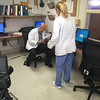 """Production crews from Los Angeles were at Heywood Hospital in Gardner on Thursday afternoon to film an independent television pilot. The show, named """"Deaths Door"""" is based on a book by Massachusetts doctor Sebastian Sepulveda,  a primary care/nephrologist from Chelmsford. Actor Enrico Colantoni, playing Dr. Mark Corbin, and Ellen Hollman, as Dr. Claire Morgan, film a scene. COURTESY PHOTO"""