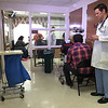 """Production crews from Los Angeles were at Heywood Hospital in Gardner on Thursday afternoon to film an independent television pilot. The show, named """"Deaths Door"""" is based on a book by Massachusetts doctor Sebastian Sepulveda,  a primary care/nephrologist from Chelmsford. Actor Tom Malloy, playing Dr. John Gabriel, waits for his cue to enter a scene. SENTINEL & ENTERPRISE / Ashley Green"""