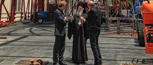 Archbishop Demetrios of America signs the steel frame of the new Annunciation Cathedral construction in San Francisco