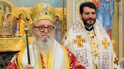 Archbishop Demetrios of America at Holy Cross Greek Orthodox Church in Belmont, California