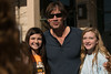 Actor Kevin Sorbo, known for his role as Hercules, poses for a picture with Aledo Middle School students Deyton Deller (left) and Ashley Moncrief.