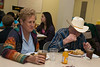 Extra cast members Helen and Terry Hyles break for lunch in the Aledo Christian Church building. Hyles says they allowed the producers to burn down their old house on FM1187 as part of the movie.