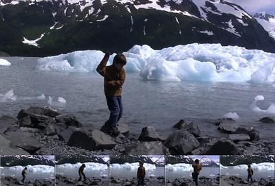 """Ryan practicing karate """"his way"""" at Portage Glacier, Alaska."""