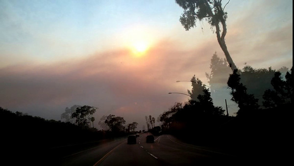 A stop motion film driving through the fires in Santa Barbara in 2008