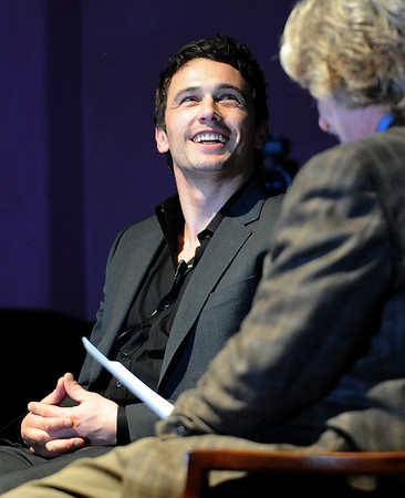"Actor James Franco in being interviewed by Ron Bostwick of BIFF.<br /> Actor James Franco was a special guest  and BIFF Vanguard Award winner at the Boulder International Film Festival (BIFF) on Saturday night at the Boulder Theater. For more photos of Franco and a video, go to  <a href=""http://www.dailycamera.com"">http://www.dailycamera.com</a>.<br /> Cliff Grassmick/ February 19, 2011"