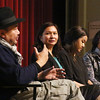 """Panelists from left, Rithy Panh, producer of """"First They Killed My Father,"""" moderator Sophy Theam, a community organizer; Chrisna Khoun, project coordinator at the Center for Asian-American Studies at UMass Lowell, and  Thida Loeung, a kindergarden teacher in the Lowell publiic schools, take questions after a free screening of the Netflix film, about the Khmer Rouge genocide, directed by Angelina Jolie, at Lowell High.  (SUN/Julia Malakie)"""