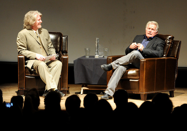 "Martin Sheen, right, is interviewed by Ron Bostwick.<br /> Distinguished actor, Martin Sheen, was the 2012  Boulder International Film Festival winner of the Master of Cinema Award.<br /> For a video and photos of Sheen, go to  <a href=""http://www.dailycamera.com"">http://www.dailycamera.com</a>.<br /> Cliff Grassmick / February 18, 2012"