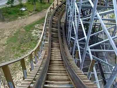 An old wooden roller coaster in the Wisconsin Dells