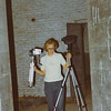 Assistant camera man, John Kozub, takes cameras to the next location for setup.